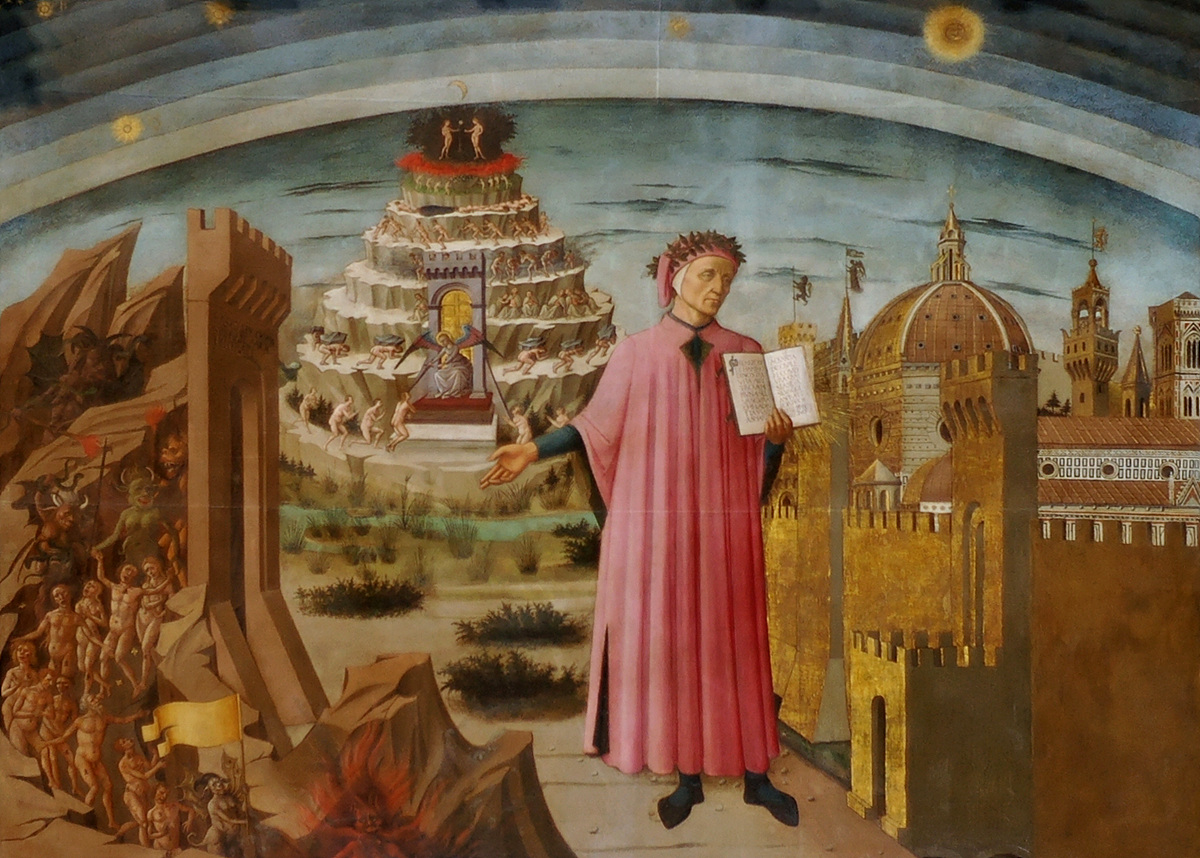 DANTE WITH HIS ANTAHKARANA TOWER OF THE CHAKRAS ABOVE THE HEAD OF PARADISO